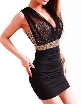 Damen Etuikleid Abendkleid kurz, ZEARO V Ausschnit Sexy Rückenfrei Paket Hüfte Kleid, Schwarz L - 1