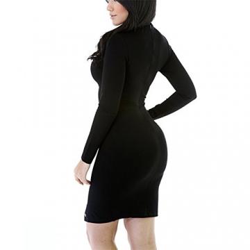 Damen Etuikleid Langarm U-Ausschnitt Knielang Bodycon Tunikakleid Stretch Kleider Pusheng -