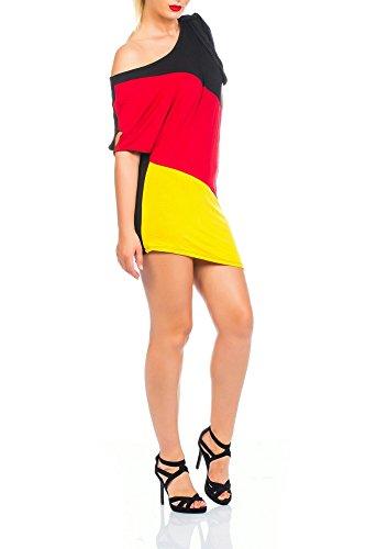 Damen Flaggen one-Shoulder Asymmetrisch Deutschland Minikleid Mini Kleid Long Shirt Bluse Tunika Fan EM WM Fußball Trikot SM 34 36 Multicolor 34/36/38 (Einheitsgröße) multicolor - 2