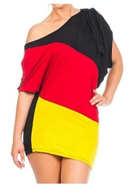 Damen Flaggen one-Shoulder Asymmetrisch Deutschland Minikleid Mini Kleid Long Shirt Bluse Tunika Fan EM WM Fußball Trikot SM 34 36 Multicolor 34/36/38 (Einheitsgröße) multicolor - 1
