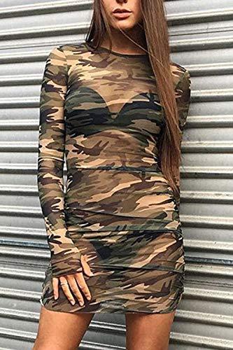 Damen Frauen Im Camouflage Bodycon Pullover Mini - Nachtclub - T - Shirt - Kleid Camouflage L - 2