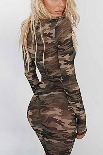 Damen Frauen Im Camouflage Bodycon Pullover Mini - Nachtclub - T - Shirt - Kleid Camouflage L - 3