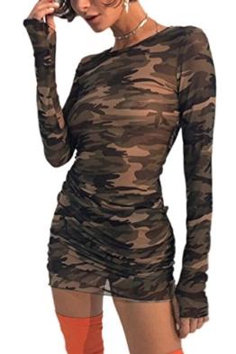 Damen Frauen Im Camouflage Bodycon Pullover Mini - Nachtclub - T - Shirt - Kleid Camouflage L - 1
