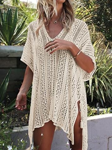 Damen Gestrickte Strandkleid Sommer Strandponcho Strandurlaub Badeanzug Bikini Cover-Ups HAIGOU (One Size, Beige) - 3