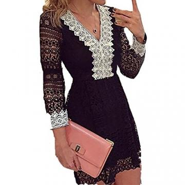 Damen Herbst Art Und Weise Elegant Langärmeligen Kleid Spitze V-Ausschnitt Schwarz Und Weiß Sogar Miniröcke (M, Schwarz) -