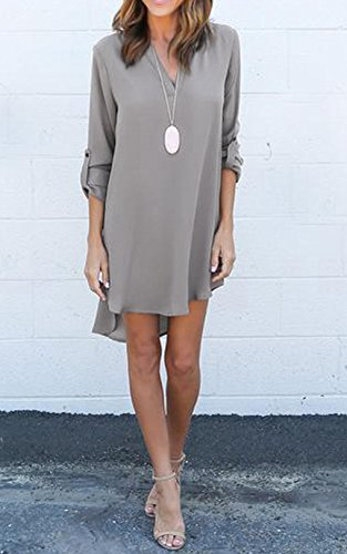 Damen Herbst Reizvolle Volltonfarbe Loose Shirtkleid Minikleid Lässig V-Ausschnitt A-Line Kleid Blusenkleider Langarm Chiffonkleid Lange Blusen (EU42(XXL), Grau) -