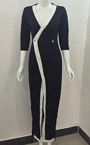 Damen Herbst Winter Maxikleid Geschäft Langarm Tief V Ausschnitt Kleid Tunikakleid mit Schlitz (EU38, Schwarz) -