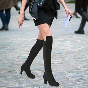 Damen Hohe Stiefel, Casual Sexy Mode Höhe Stiefel Wildleder Kniehohe Stiefel Herbst Winter Overknee Stiefel Runde Stiefel Rutschfeste 8 cm Hoher Absatz - 4