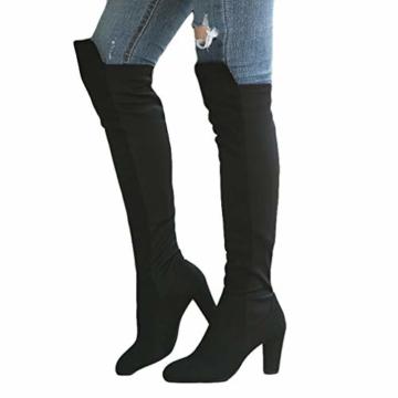 Damen Hohe Stiefel, Casual Sexy Mode Höhe Stiefel Wildleder Kniehohe Stiefel Herbst Winter Overknee Stiefel Runde Stiefel Rutschfeste 8 cm Hoher Absatz - 1