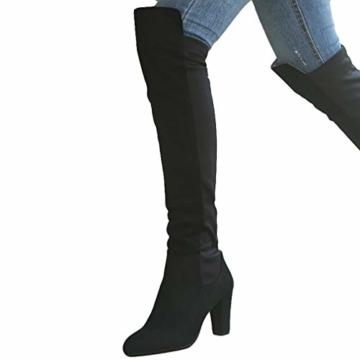 Damen Hohe Stiefel, Casual Sexy Mode Höhe Stiefel Wildleder Kniehohe Stiefel Herbst Winter Overknee Stiefel Runde Stiefel Rutschfeste 8 cm Hoher Absatz - 5