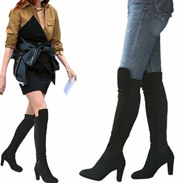 Damen Hohe Stiefel, Casual Sexy Mode Höhe Stiefel Wildleder Kniehohe Stiefel Herbst Winter Overknee Stiefel Runde Stiefel Rutschfeste 8 cm Hoher Absatz - 6
