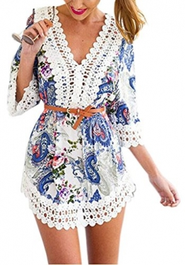 Damen Kimono Weinlese 3/4 Hülsen V-Ausschnitt hohle Spitze Stitching kurzes Kleid Sommerkleid Frauen Boho Geometrie Printed Lose Chiffon Bluse Strandkleid(Darin nicht enthalten Gürtel) -