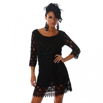 Damen Kleid 3/4 Arm Spitze Elegant Sommer Party Minikleid Größe 36 38 40 Schwarz 36/38 - 2