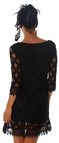 Damen Kleid 3/4 Arm Spitze Elegant Sommer Party Minikleid Größe 36 38 40 Schwarz 36/38 - 3