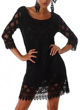 Damen Kleid 3/4 Arm Spitze Elegant Sommer Party Minikleid Größe 36 38 40 Schwarz 36/38 - 1