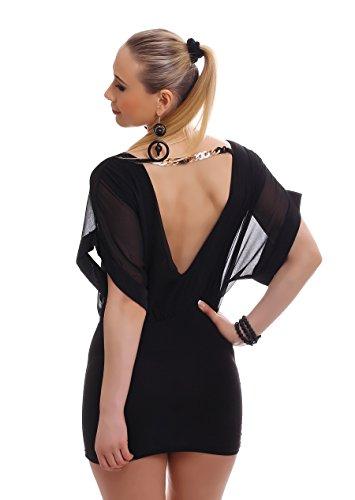 Damen Kleid Chiffonkleid Chiffon Minikleid Sommerkleid Party zweifarbig rückenfrei 3 farbiger Gliederkette 34-36-38 (Einheitsgröße) schwarz-schwarz - 2