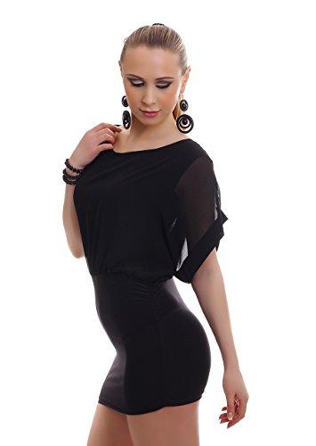 Damen Kleid Chiffonkleid Chiffon Minikleid Sommerkleid Party zweifarbig rückenfrei 3 farbiger Gliederkette 34-36-38 (Einheitsgröße) schwarz-schwarz - 3