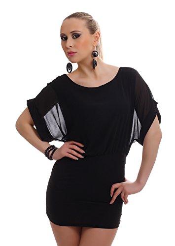Damen Kleid Chiffonkleid Chiffon Minikleid Sommerkleid Party zweifarbig rückenfrei 3 farbiger Gliederkette 34-36-38 (Einheitsgröße) schwarz-schwarz - 1