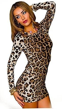 Damen Kleid Minikleid Mini Leopard Leo Animal Print M/L Langarm - 1