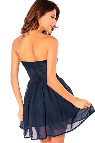 Damen Kleid Skater Kleid Bandeau Minikleid aus Tüll und Spitze mit Unterrock Einheitsgröse S-L (Blau) - 2
