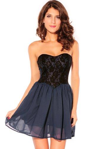 Damen Kleid Skater Kleid Bandeau Minikleid aus Tüll und Spitze mit Unterrock Einheitsgröse S-L (Blau) - 1