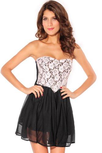 Damen Kleid Skater Kleid Bandeau Minikleid aus Tüll und Spitze mit Unterrock Einheitsgröse S-L (Schwarz) -