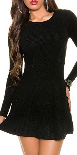 Damen Kleid Strickkleid Strick Pullover Pulli Minikleid Ripp Sweater Party Club 32 34 36 Black - 1