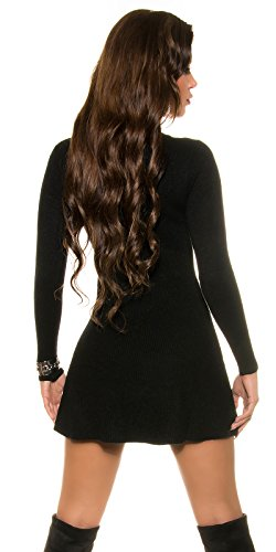 Damen Kleid Strickkleid Strick Pullover Pulli Minikleid Ripp Sweater Party Club 32 34 36 Black - 2