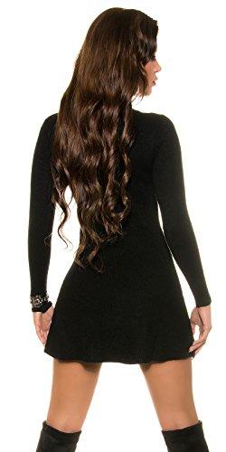 Damen Kleid Strickkleid Strick Pullover Pulli Minikleid Ripp Sweater Party Club 32 34 36 Black - 2