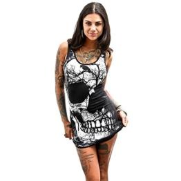 Damen Kleider Frauen Bodycon Sommerkleider Ärmelloses MiniKleid Skull Bedruckt T-Shirt Kleid Vintage Partykleid Cocktailkleid Weste Kleid Bleistiftkleid Casual A Line Etuikleid (M, Sexy Schwarz) - 1