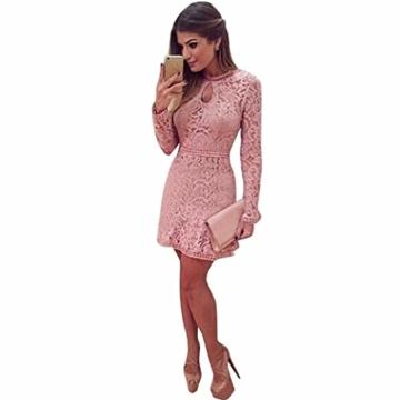 Damen Kleider, GJKK Damen Reizvolle Rosafarbene Hohle Spitze Langarm Rundhals Dünnes Kleid Partei Abend Kleid Frauen Enges Kleid Elegant Abendkleid Minikleid Spitzenkleid (Rosa, L) - 2