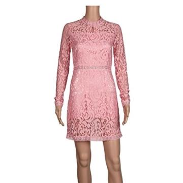 Damen Kleider, GJKK Damen Reizvolle Rosafarbene Hohle Spitze Langarm Rundhals Dünnes Kleid Partei Abend Kleid Frauen Enges Kleid Elegant Abendkleid Minikleid Spitzenkleid (Rosa, L) - 5