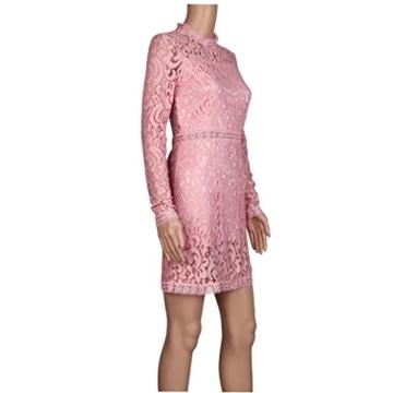 Damen Kleider, GJKK Damen Reizvolle Rosafarbene Hohle Spitze Langarm Rundhals Dünnes Kleid Partei Abend Kleid Frauen Enges Kleid Elegant Abendkleid Minikleid Spitzenkleid (Rosa, L) - 6