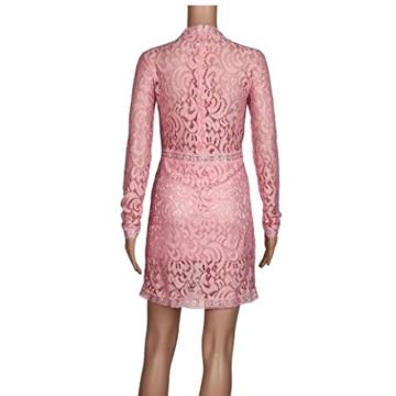 Damen Kleider, GJKK Damen Reizvolle Rosafarbene Hohle Spitze Langarm Rundhals Dünnes Kleid Partei Abend Kleid Frauen Enges Kleid Elegant Abendkleid Minikleid Spitzenkleid (Rosa, L) - 7