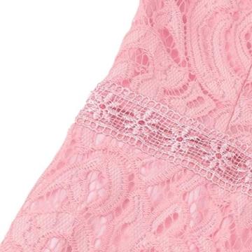 Damen Kleider, GJKK Damen Reizvolle Rosafarbene Hohle Spitze Langarm Rundhals Dünnes Kleid Partei Abend Kleid Frauen Enges Kleid Elegant Abendkleid Minikleid Spitzenkleid (Rosa, L) - 8