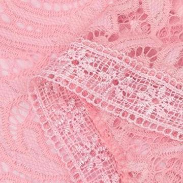 Damen Kleider, GJKK Damen Reizvolle Rosafarbene Hohle Spitze Langarm Rundhals Dünnes Kleid Partei Abend Kleid Frauen Enges Kleid Elegant Abendkleid Minikleid Spitzenkleid (Rosa, L) - 9