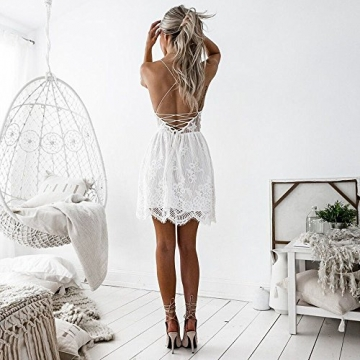 Damen Kleider Sommer Casual Vintage Spitze V Ausschnitt Träger Strandkleider Mini Beachwear Strandkleider Mini Strandkleider Clubwear Dress (M, Weiß) -