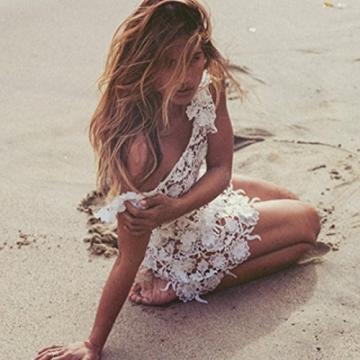 Damen Kleider Xinan Frauen Spitze Häkeln Hohlen Bikini Vertuschen Bademode Strandkleid (S, Weiß) -