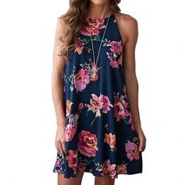 Damen Kleid!Sannysis Frauen Blumen Minikleid Ärmelloses Kleid (s, Blau) -