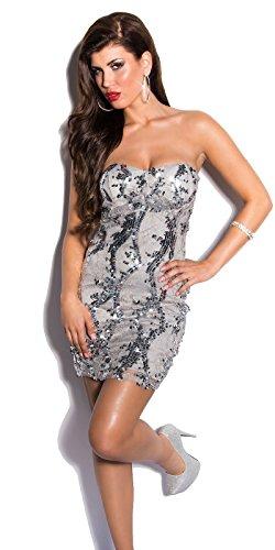 Damen KouCla Cocktail Kleid mit Spitze und Pailettenin zwei Farben, Einheitsgröße (Grau) - 1