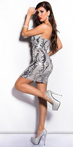 Damen KouCla Cocktail Kleid mit Spitze und Pailettenin zwei Farben, Einheitsgröße (Grau) - 3