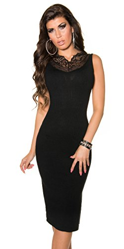 Damen KouCla Feinstrick Kleid mit Spitze und Reißverschluss in schwarz, Größe 34-38 - 1
