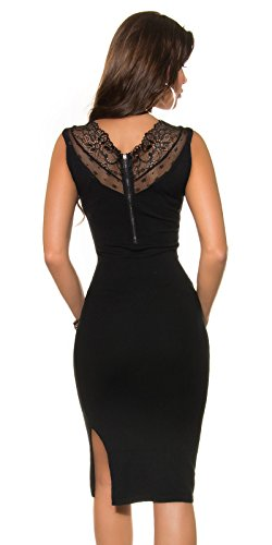 Damen KouCla Feinstrick Kleid mit Spitze und Reißverschluss in schwarz, Größe 34-38 - 2