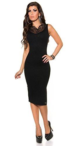 Damen KouCla Feinstrick Kleid mit Spitze und Reißverschluss in schwarz, Größe 34-38 - 3