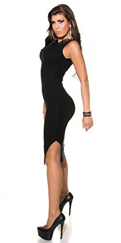 Damen KouCla Feinstrick Kleid mit Spitze und Reißverschluss in schwarz, Größe 34-38 - 4