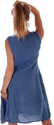 Damen Leinen Kleid ärmellos mit schönen Details (L = 38, Jeans Blau) -