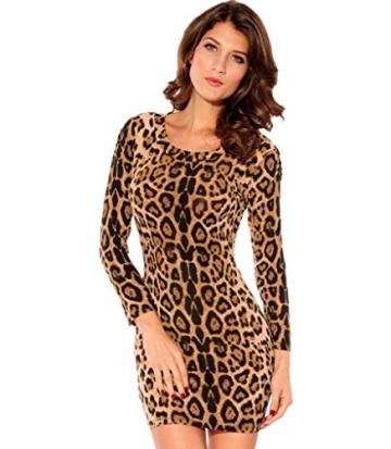 Damen Leoparden Minikleid Longtop Animal Print Minikleid - 1