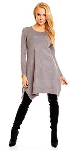 Damen Long Tunika Strickpullover Luna Grau - 2