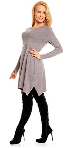 Damen Long Tunika Strickpullover Luna Grau - 3