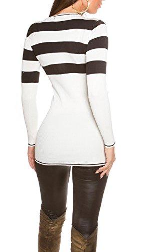 Damen Longpulli Pullover Pulli lang Minikleid Strickkleid Feinstrick 32 34 36 38 White - 2